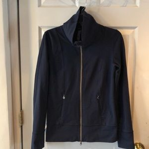 Lululemon navy fitted jacket. Size 6. Silver zips